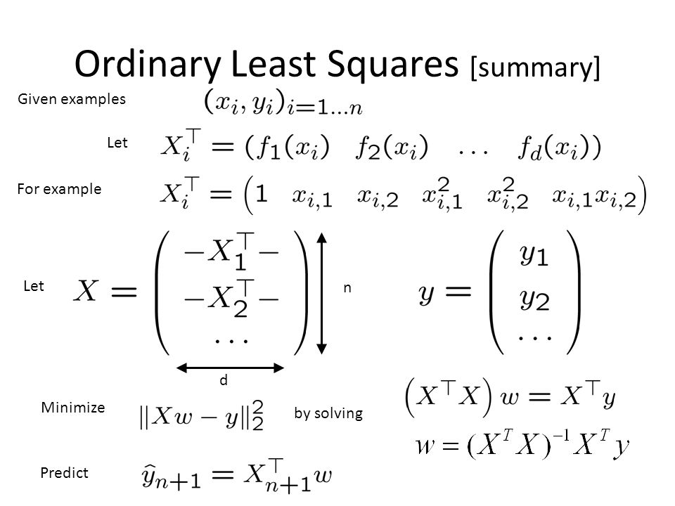 Ordinary Least Squares [summary]